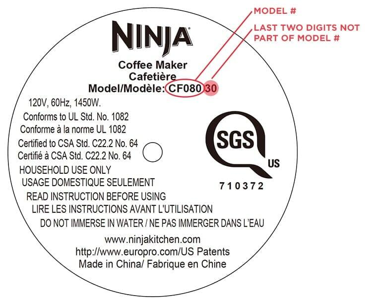 Ninja Coffee Bar® - Where to find the model number