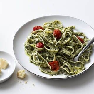 Fettuccine with Kale and Sunflower Pesto Recipe