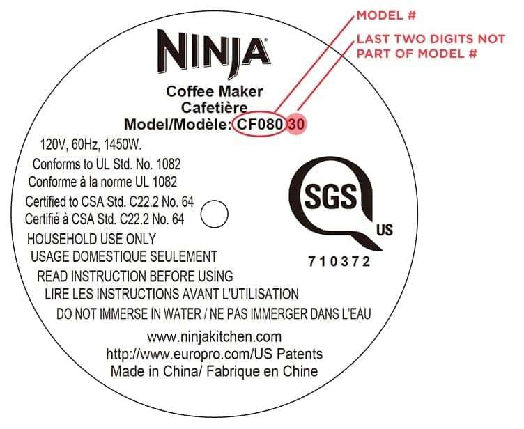 Ninja Coffee Bar - Where to find the model number